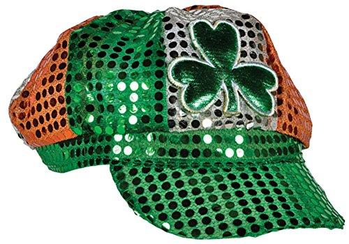 Saint Patrick's Day Tri-Color Irish Shamrock Sequin Newsboy Hat (Saints Costumes)