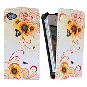 Sonycase Beautiful Flowers PU Leather Cover Case for iPhone 4S