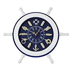 Novelty Wooden Nautical Steering Wheel Wall Clock, 9-inch Clock Face, Blue
