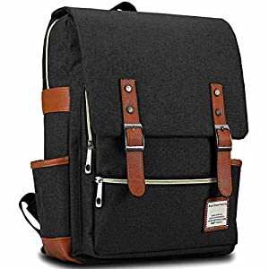 "Bagerly Lightweight Outdoor Travel Bag Canvas Laptop Backpack School Daypack 15"" (Black)"