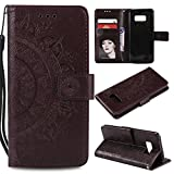 Galaxy S8 Floral Protective Wallet Case,Galaxy S8 Strap Flip Case,Leecase Pretty Elegant Embossed Totem Flower Design Pu Leather Bookstyle Magnetic Card Slots Wrist Strap Rose Gold Soft Inner Stand Flip Skin Case Cover Book Style With Lanyard Strap for Samsung Galaxy S8 + 1 x Free Black Stylus-Brown
