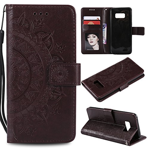 Galaxy S8 Plus (S8 +) Floral Wallet Case,Galaxy S8 Plus (S8 +) Strap Flip Case,Leecase Embossed Totem Flower Design Pu Leather Bookstyle Stand Flip Case for Samsung Galaxy S8 Plus (S8 +)-Brown by Leecase