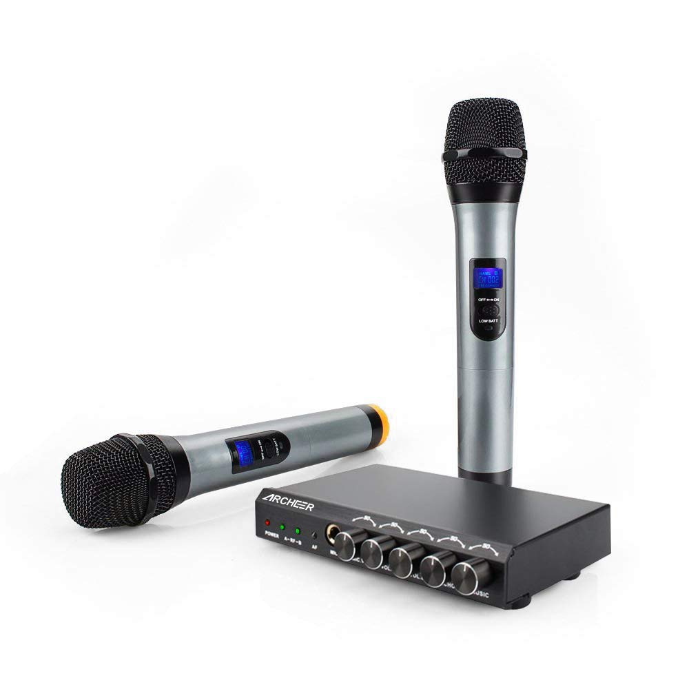 ARCHEER bluetooth Wireless Microphone System Karaoke Machine with 1/4'' Mic Jack, VHF Dual Channel Handheld Karaoke Microphone Mini Portable Singing Mixer Cordless Mic Set for Wedding Church Party
