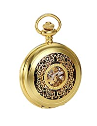 Golden Classic Analogue numbers Skeleton Mechanical Hand Winding Pocket Watch CH061