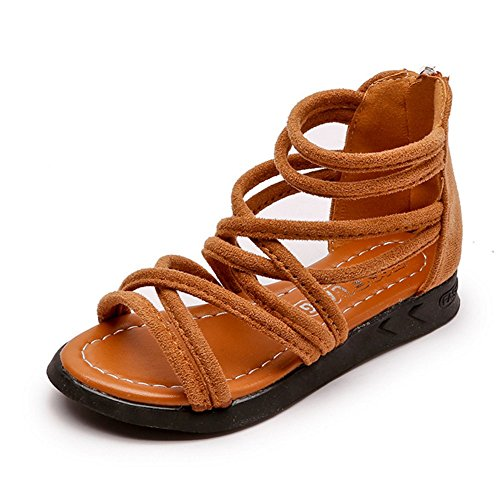 Meckior Toddler Kids Girls Classical Flat Sandals Rome Shoes (6.5 M US Toddler, A-Brown)]()