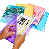 Ultimate Office PocketFile Clear Poly Document Folder Project Pockets, 5th-Cut, Letter Size, in 5 Assorted Colors, Set of 25
