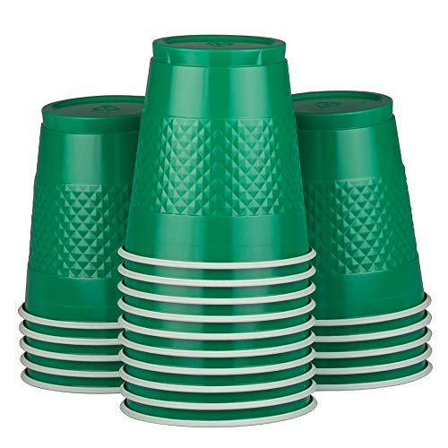 JAM PAPER Plastic Party Cups - 12 oz - Green - 20 Glasses/Pack