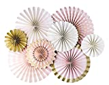 My Mind's Eye - Fancy Pink Gold and Ivory Paper Party Fans - 8 Count - Decorations