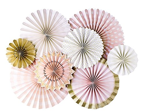 My Mind's Eye Princess Double Sided Party Fans, Pink, Gold, White PNP401 Set of 8 Fans