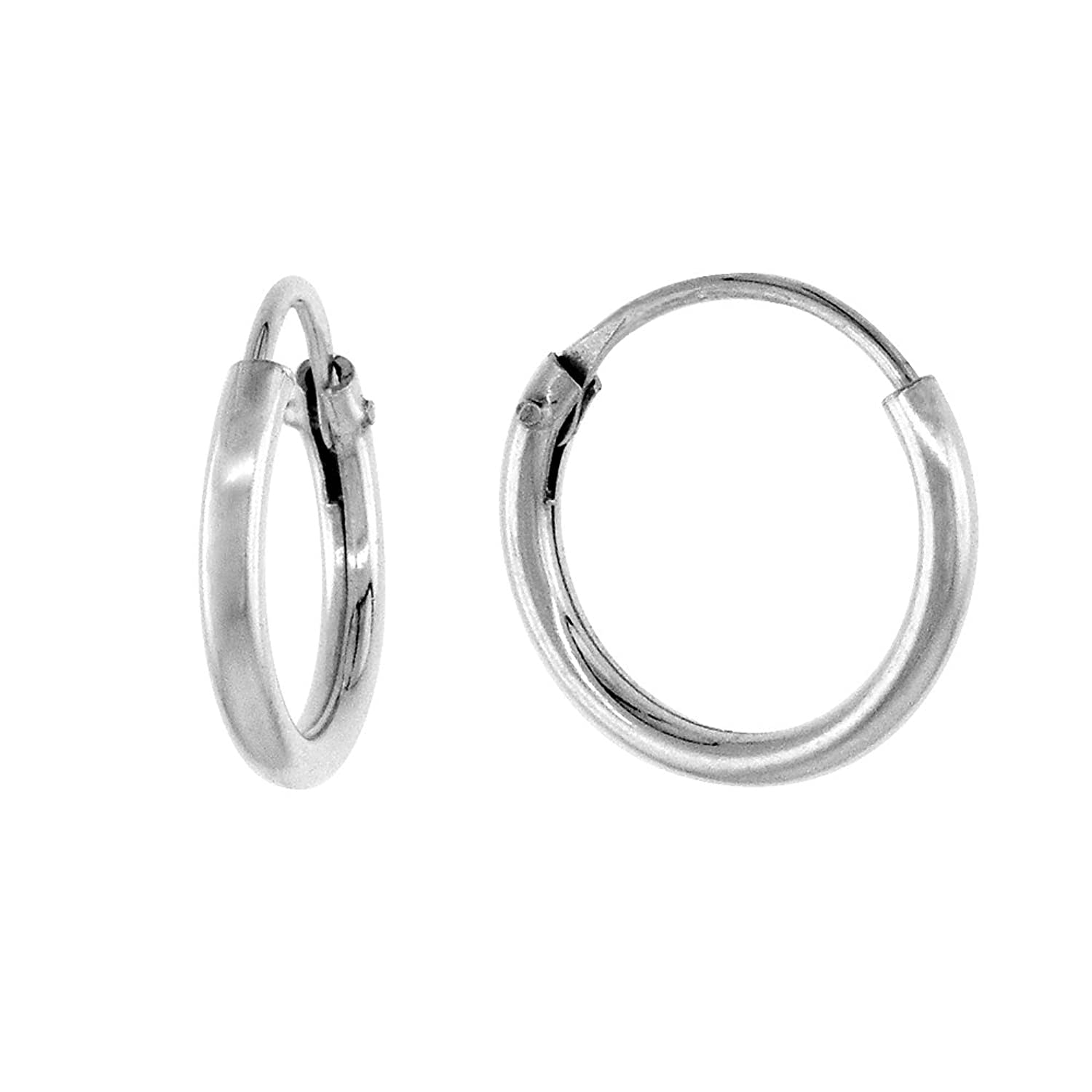 Amazon.com: Sterling Silver Small Endless Hoop Earrings for ...