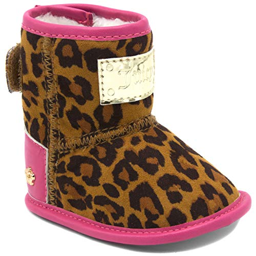 Couture Leather Juicy Pink (Juicy Couture Kids JC Baby San Diego Prewalker Girls Leopard Fashion Crib Boots, Soft Sole Shoes 3 Infant)
