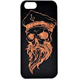 | SUGAR YETI | Real Wood Cellphone Cover for iPhone 6/6s Wooden Laser Engraved iPhone 6 Cases Natural Bamboo Black Ink (14- Skull Captain)