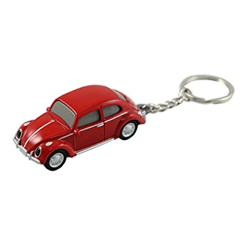 Volkswagen VW Classic Beetle Keychain Keylight Flashlight - Red