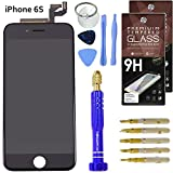 """DIY iPhone 6S Screen Replacement 4.7"""" Black , LCD Touch Screen Digitizer Assembly Set + Premium Glass Screen Protector + Free Repair Tool Kit"""