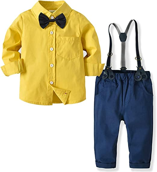 Weentop Traje de Caballero para niños Camisa Amarilla de Manga ...