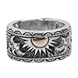 Adisaer Biker Rings Silver Ring for Men Eagle Wings Sun Totem Ring Size 10.5 Vintage Punk Jewelry