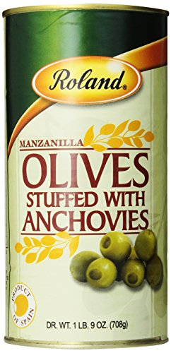 Roland Manzanilla Olives Stuffed with Anchovies, 25 Ounce ( pack of 2 ) ()