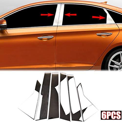 (AUTOXBERT Fits for Hyundai Sonata LF 2015 2016 2017 2018 2019Stainless Steel Chrome Window Pillar Styling Cover Trim Molding Garnish Accent 6Pcs/Set)