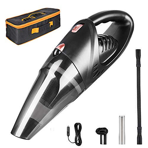 Manfiter Car Vacuum Cleaner Portable Handheld, DC 12 Volt Wet and Dry Mini Vacuum Cleaner Low Voice for Car with Stronger Suction with Carrying Bag with HEPA Filter 16.4ft Cable.