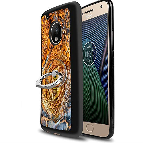 - YQCi Compatible with Moto G5 Plus 360 Full Body Slim Cover Soft Flexible TPU Protector Skin with Ring Holder Stand for Moto G5 Plus-Crocodile Eyes