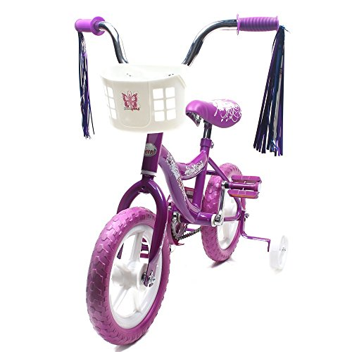 CHROMEWHEELS BMX 16″ Kid's Bike for 4-6 Years old, Bicycle for Girls, Air EVA Tires with Training Wheels & Coaster Brake, Color Purple
