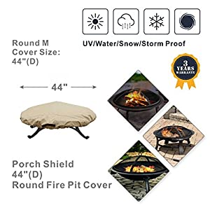 Porch Shield 100% Waterproof Round 600D Heavy Duty Patio Fire Pit/Table Cover (Up to 44 inch, Round Top)