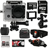 Vivitar DVR914HD 1440p HD Wi-Fi Waterproof Action Video Camera Camcorder with Remote, Vented Helmet & Handlebar Bike Mounts + 32GB Card + Case Kit