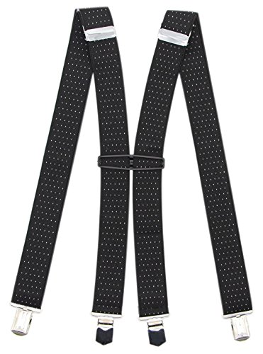 Suspenders For Men With 4 Clips: 11 Colors For Formal And Casual Occasions (Black Dot) by Bioterti