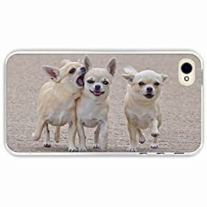 iPhone 4 4S Black Hardshell Case dogs walk Transparent Desin Images Protector Back Cover