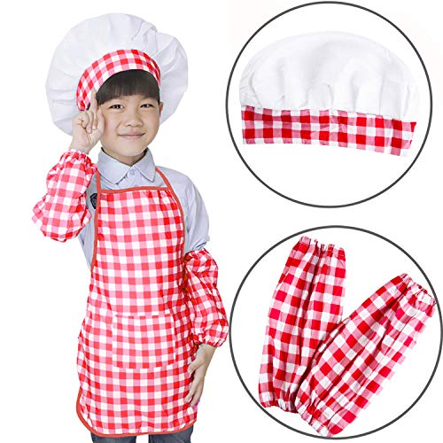 VILONG Pink Plaid Apron Suit for Kids,Chef Hat Sleeve Apron Set 3 Pieces,Children Bib,2-10 Year Old Smocks for Classroom,Community Event,Crafts Art Painting Activity,Cooking Baking