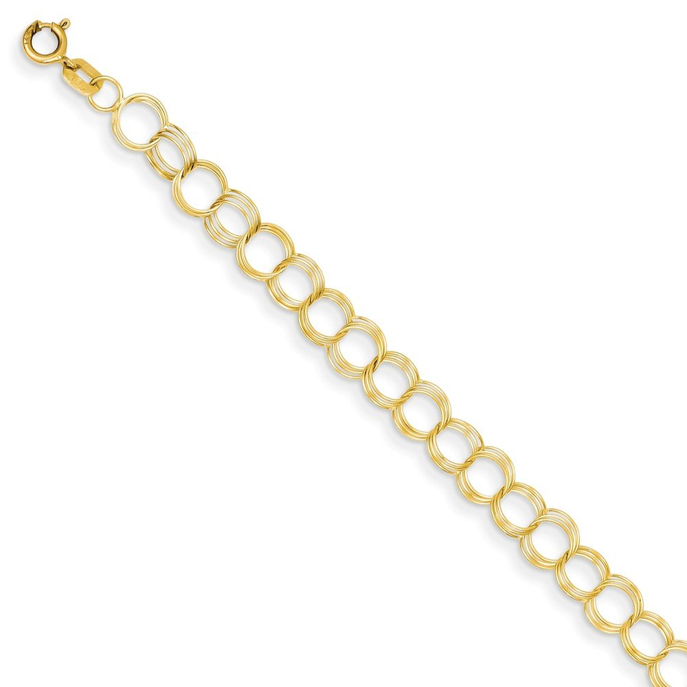 Jewels By Lux 14K Yellow Gold Solid Triple Link Charm Bracelet