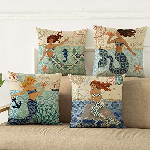 Unibedding Mermaid Coastal Decor Throw Pillow Case -Outdoor Ocean Cotton Linen Decorative Nautical Theme Pillow Cover for Patio Couch Bench Sets of 4 18 X 18 Inches (Ocean Style Decor)