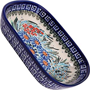 Polish Pottery Ceramika Boleslawiec 0726/169 Butter Platter, 6-Inch by 4-1/2-Inch