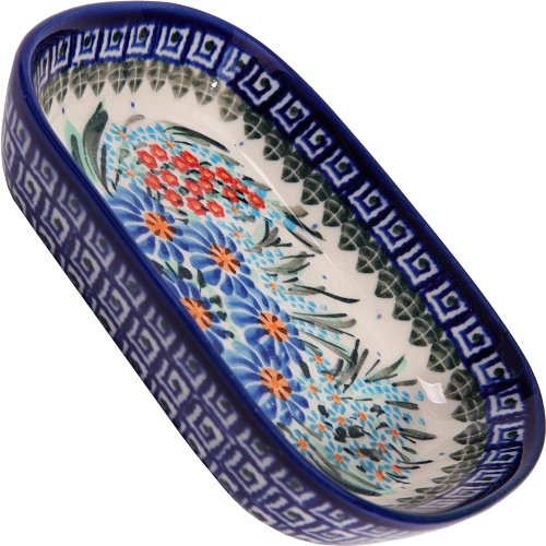 Polish Pottery Ceramika Boleslawiec 0726/169 Butter Platter, 6-Inch by 4-1/2-Inch