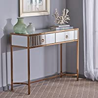 Summerland Modern Two Drawer Mirrored Console Table with Rose Gold Finished Stainless Steel Frame