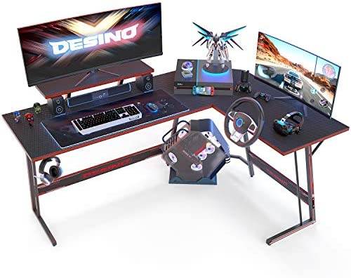 DESINO L Shaped Gaming Desk Computer Coner Desk PC Wirting Table Gamer Workstation for Home Office, Black