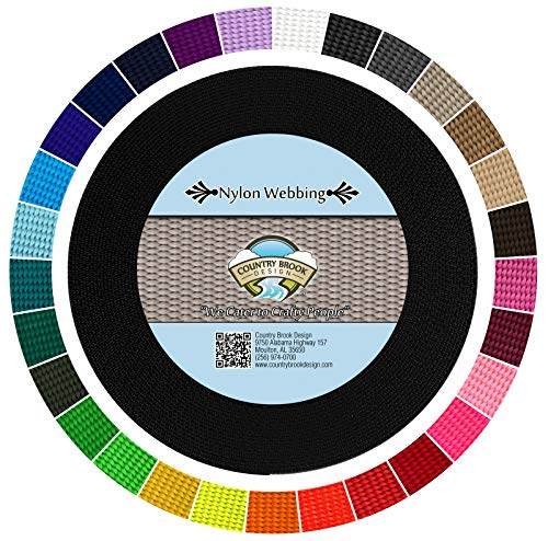 Country Brook Design - Durable 1 Inch Heavy Nylon Webbing - 29 Vibrant Colors (Black, 10 Yards) ()