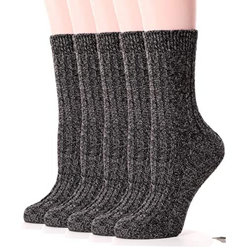 Womens Wool Socks Knit Warm Comfort Cotton Work Duty Boot Winter Socks For Cold Weather 5 Pack (Black)