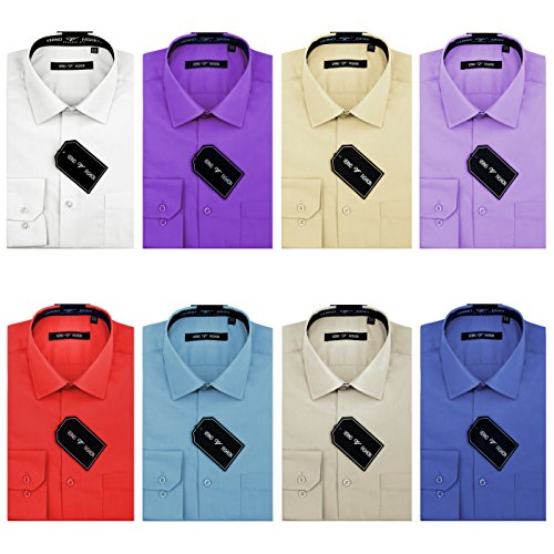 Verno Luxton Men's Fashion(Regular) Fit Long Sleeve Dress Shirt - Available in More Colors (14-32/33, White)