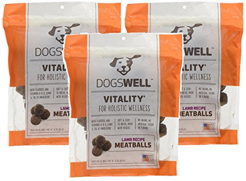 Dogswell 3 Pack of Vitality Lamb Meatballs Dog Treats, 15 Ounces Per Pack -