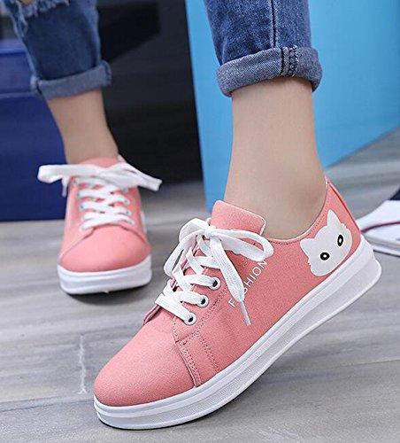 Idifu Donna Casual Gatto Stampa Pizzo Sneakers Basse In Tela Piatte Rosa