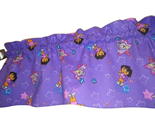 Purple Dora the explorer valance curtain. Window treatment. Fun colorful fabric for a Room, Kids Playroom. Daycare school, Girl, Toddlers, Nursery. boots tv cartoon