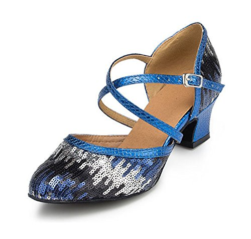 Sequin Dance Strap Taogo Pleather Cross Blue Ladies Pumps UK MINITOO TH135 7 Wedding Ballroom Latin Shoes UvEPT