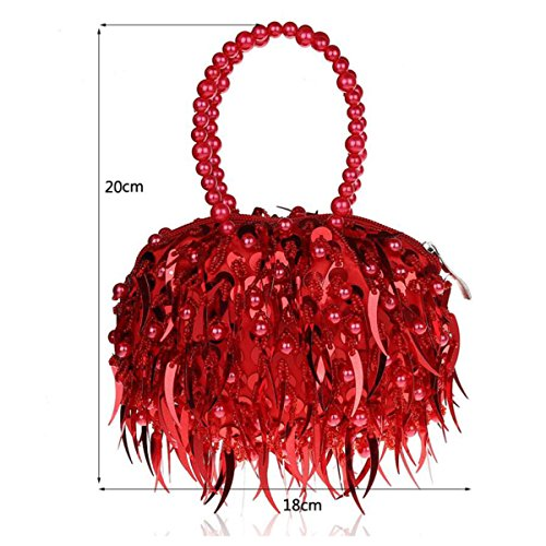 GSHGA Fashion Sequin Mini Bride Dress Bag Evening Silver Wedding For Clutch New Clubs Bag Beaded RoseRed Bag Bag Purse Party qrwXnfprxF