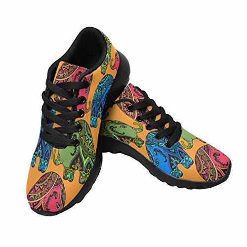 Interestprint Mujeres Jogging Running Sneaker Ligero Go Easy Walking Comodidad Casual Zapatillas De Running Elefantes En Estilo Indio Multi 1