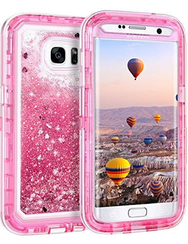 Coolden Case for Galaxy S7 Edge Case Protective Glitter Case for Women Girls Cute Bling Sparkle 3D Quicksand Heavy Duty Hard Shell Shockproof TPU Case for Samsung Galaxy S7 Edge, Pink