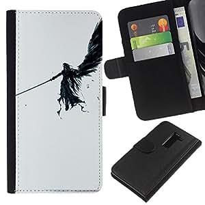 LG G2 D800 D802 D802TA D803 VS980 LS980 , la tarjeta de Crédito Slots PU Funda de cuero Monedero caso cubierta de piel (Dark Angel)
