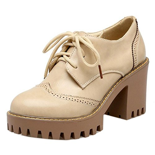 Taoffen Womens Lace Up Classique Chaussures Oxford Beige