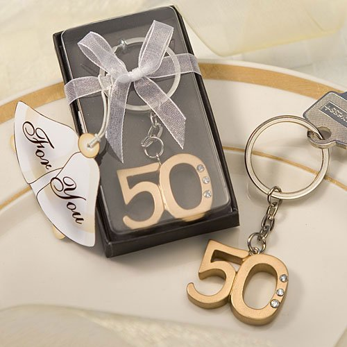 50th Anniversary key ring favors [SET OF 12] by Fashioncraft