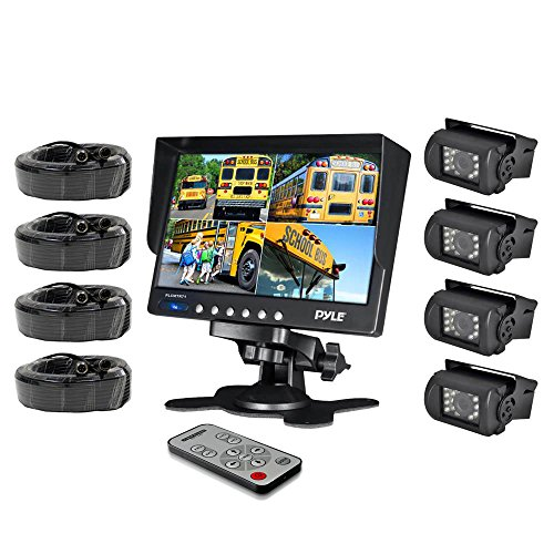 Pyle PLCMTR74 Weatherproof Rearview Backup Camera System with 7'' LCD Color Monitor, Built-in Quad Control Box Screen Function, (4) IR Night Vision Cameras, Dual DC Voltage 12-24 - Rear View Monitoring System